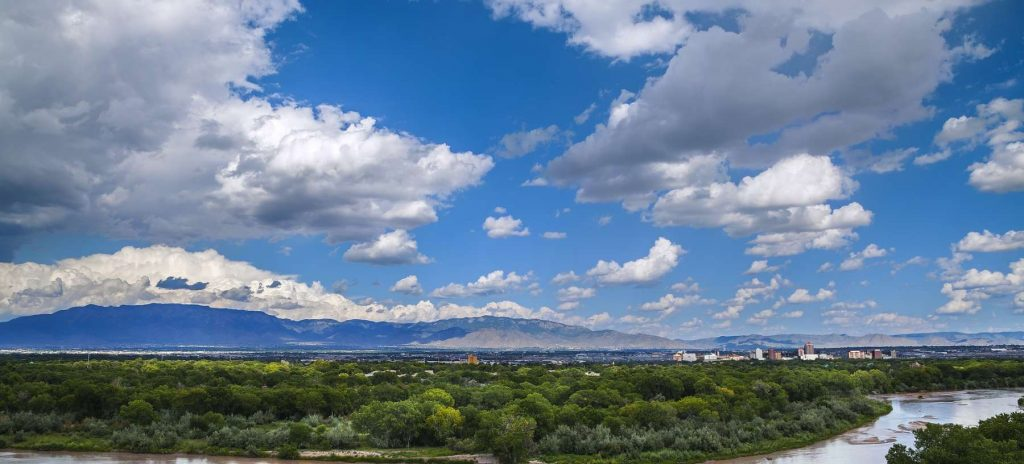 View of Albuquerque and the Sandias from the Rio Grande